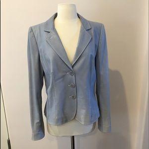 Armani Collezioni blue lambskin leather blazer